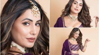 Hina Khan, in Rs 96,800 Lehenga, Looks Magically Real And That Shade of Purple is oh-so-stunning!