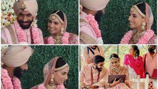 Jasprit Bumrah-Sanjana Ganesan's Cute Exchanges During Marriage is Going Viral   WATCH VIDEO