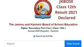 JKBOSE Class 12th Result 2021 Declared: JKBOSE ने जारी किया कश्मीर डिविजन के 12वीं का रिजल्ट, ये है चेक करने का Direct Link