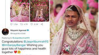 Jasprit Bumrah-Sanjana Ganesan Marriage: India Cricketer Mayank Agarwal Goofs Up Tags Sanjay Bangar Instead of India Pacer's Wife, Netizens React