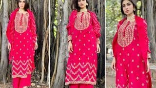 Mouni Roy's Red Suit Worth Rs 33,600 Deserves a Place in Your Wedding Trousseau - See Pics