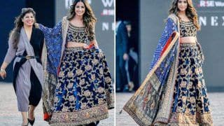 Hina Khan Scorches The Ramp in A Velvet Lehenga at Lakme Fashion Week 2021