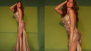 Nora Fatehi in Metallic Thigh-High Slit Gown Burns The Internet