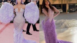Divya Khosla Kumar's Lilac Feather Gown Reminds Us of Kylie Jenner's Met Gala Dress, Here's Proof!