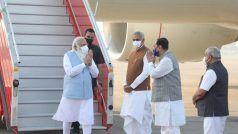 PM मोदी गुजरात पहुंचे, केवड़िया में आज सैन्य कमांडरों के सम्मेलन को संबोधित करेंगे