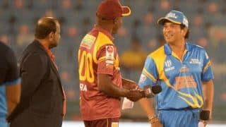 Road safety world series india india legend vs west indies legend sachin tendulkar happy with competitive spirit as more than 424 run scored in the match 4499662