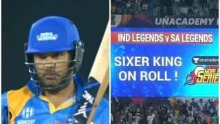 Yuvraj Singh Hits Four Consecutive Sixes in Road Safety Series Game Against South Africa | WATCH VIDEO