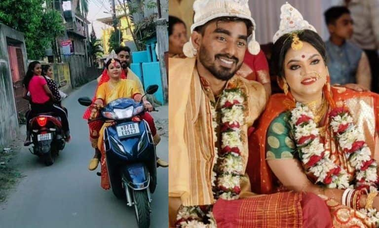 Scooty Se Sasural: Newly-wed Bride Rides a Two-wheeler to In-Laws House Post-wedding