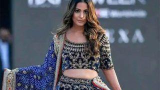 Lakme Fashion Week 2021: नीले लहंगा चोली पहन रैंप पर चलीं Hina Khan, एक नज़र मुस्कुरा कर देखा तो आ गई कयामत