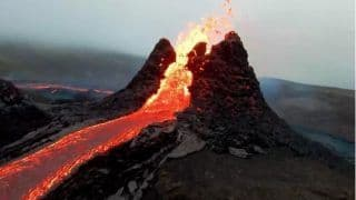 Photographer Sends Drone Over Erupting Volcano, Video Captures Incredible Moment of Lava Spitting Out   Watch