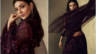 Kajal Aggarwal's Rs 22,500 Wine Coloured Organza Saree Deserves a Place in Your Closet