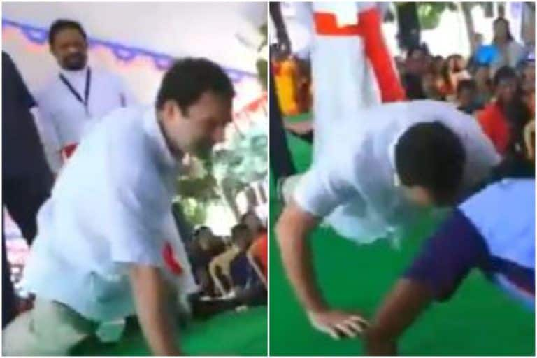 Rahul Gandhi Push-ups Video: राहुल गांधी एक साथ किए 15 पुश अप्स, छात्र को मार्शल आर्ट के स्टेप भी बताए, देखें VIDEO