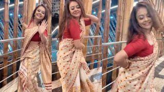 Devoleena Bhattacharjee Dances Gracefully to Assamese Folk Song Nahorore Kumoliya in Bihu Saree- Watch Viral Video