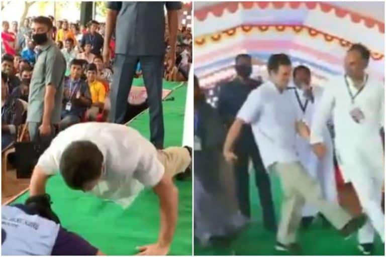 Rahul Gandhi Takes Push-Up Challenge With Students in Tamil Nadu. Watch What Happens Next