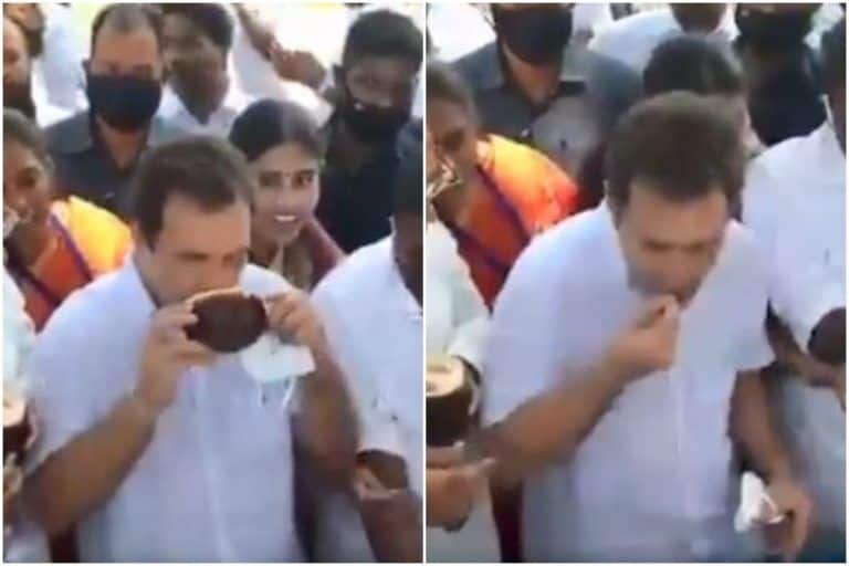 Rahul Gandhi Enjoys Palm Fruit With Locals in Tamil Nadu's Kanyakumari, Video Goes Viral | Watch