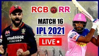 Live RCB vs RR IPL 2021 Live Cricket Score And Updates: Virat Kohli's Bangalore Look to Extend Winning Streak Against Rajasthan