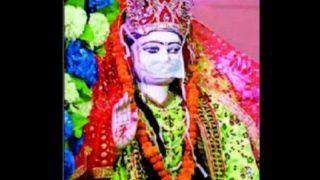 Temple Puts a Mask on Idol of Goddess Durga, Priest Distributes Masks as 'Prasad' During 'Navratri'