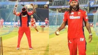 Ipl 2021 universe boss chris gayle seen bowling in the nets after completing quarantine watch video 4571277
