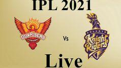 IPL 2021, Sunrisers Hyderabad vs Kolkata Knight Riders, 3rd Match Live Cricket Score Streaming, सनराइजर्स हैदराबाद वर्सेज कोलकाता नाइट राइडर्स लाइव क्रिकेट स्कोर: केकेआर की संभली हुई शुरुआत, विकेट की तलाश में हैदराबाद