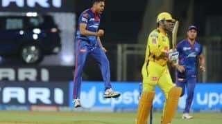 MS Dhoni Clean Bowled For a Duck by Avesh Khan in CSK's IPL 2021 Opener Against DC | WATCH VIDEO