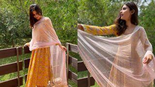 Mouni Roy Picks a Pretty Rs 5,200 Floral Anarkali For Her Stay at Sadhguru's Isha Yoga Center - See Pics