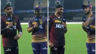 Nitish Rana-Harbhajan Singh Enthrall Fans With Punjabi Song After KKR Beat SRH in IPL 2021 in Chennai | WATCH VIDEO