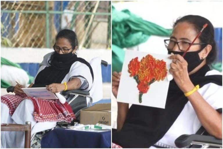 Mamata Banerjee Sits on Wheelchair & Keeps Herself Busy by Painting at Dharna Against EC | Watch Video