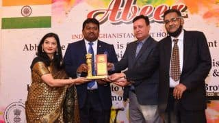Dr Hari Krishna Maram Awarded at Afghanistan Embassy For Providing Digital Skills to All