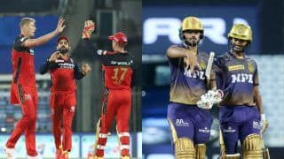 Live Cricket Score And Updates RCB vs KKR IPL 2021: Kohli's Bangalore Look to Continue Momentum Against Kolkata