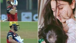 Virat Kohli Blows Kisses to Anushka Sharma, Dedicates Half-Century to Baby Vamika - Viral Video