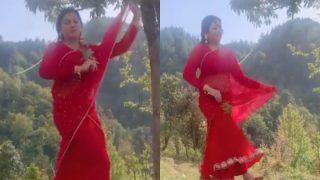 जंगल में लाल साड़ी पहनकर किसकी याद में मदहोश हो रही हैं Sonali Phogat? हुस्न और नज़ाकत ने लूट ली महफ़िल-VIDEO