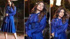 नीली ड्रेस में Hina Khan ने अपने फैंस को बनाया अपना दीवाना, नया रुप देखकर आप भी हो जाएंगे फिदा- Photos