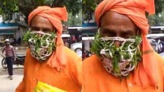 Necessity is the Mother of Jugaad: Man Wears Mask Made With Neem and Tulsi Leaves, Video Goes Viral   WATCH