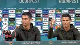 VIDEO: Cristiano Ronaldo Removes Coca Cola Bottles in Press Conference Ahead of EURO 2020 Portugal vs Hungary, Asks Fans to Drink Water