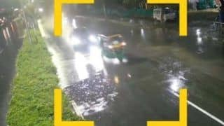 Caught On Camera: Audi Speeding in Heavy Rain Hits Auto in Hyderabad, 1 Dead; Youth Arrested