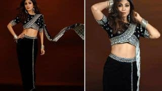 Shilpa Shetty Gives a Chic Twist to a Traditional Saree, Looks Glamorous in Rs 46K Black And Silver Number