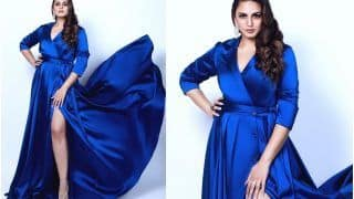Huma Qureshi is a Sight to Behold in a Glamorous Thigh Slit Blue Dress
