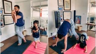 Kareena Kapoor Khan Shares a Glimpse of Saif-Taimur Doing Yoga And It Is Undoubtedly The Cutest Pic on Internet