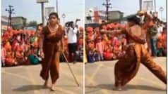 Desi Mardani Video: नौवारी साड़ी पहन लड़की ने लट्ठ-तलवार से दिखाई कलाबाजी, लोग हुए फैन, बोले- देसी मर्दानी...