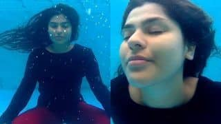 Taarak Mehta Ka Ooltah Chashmah's Nidhi Bhanusali Aka Sonu Bhide Performs Underwater Yoga As She Takes Dip In Pool