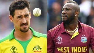 Cricket news west indies vs australia andre russell fail to score 11 off 6 ball against mitchell starc fan trolled him watch video 4814833
