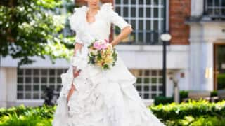 Model Showcases Stunning Wedding Gown Made Entirely of 1500 Discarded Face Masks | See Pics