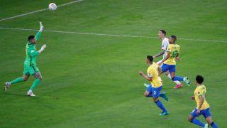 VIDEO: Angel Di Maria Sublime Chip Over Brazil's Ederson Takes Argentina Ahead in Copa America Final