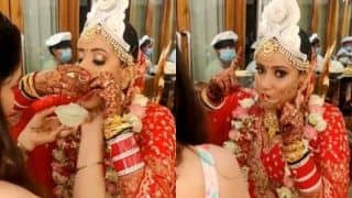 Video of Bride Struggling to Have a Paani Puri Wearing a Nose Ring is Going Viral, Netizens Say 'Never Say No to Pani Puri' | WATCH