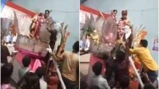Viral Video: Groom's Mother Gets on Wedding Stage & Beats Her Son With Slippers During Jaimala | Watch