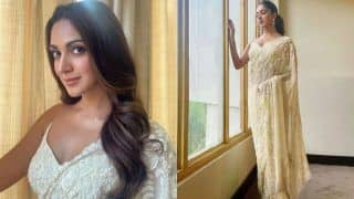 Kiara Advani Looks Gracious in Rs 66,000 White Hand Embroidered Saree at Shershaah Trailer Launch in Kargil