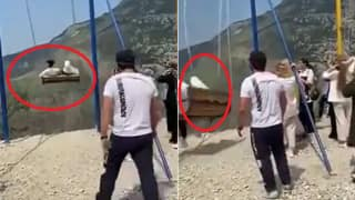 Viral Video: 2 Girls Fall Off Swing on The Edge of 6000-Ft Cliff, Scary Video Will Shock You   Watch