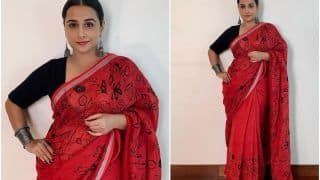 Vidya Balan in Red Hand Painted Saree Worth Rs 14,500 is Just so Elegant