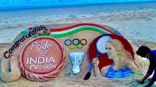 Sudarsan Pattnaik Creates Sand Art Congratulating PV Sindhu On Her Historic Bronze, She Loves It | See Pic