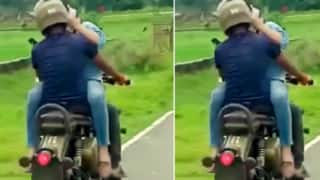 Bihar Couple Caught Engaging in PDA On a Moving Bike, Enraged Locals Moral Police Them | Watch